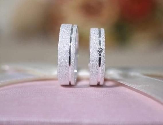 Par De Aliança Namoro + 1 Pedra - Prata 950 - Fosco - 5mm