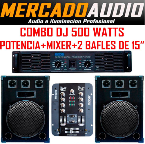 Imagen 1 de 6 de Combo Dj Potencia + 2 Bafles De 15  +mixer