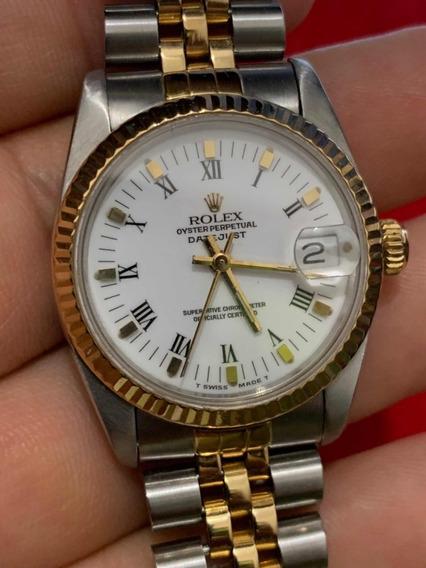 Rolex Datejust Zafiro Dama Cadete A/o 18k Mid Size 9cito Sub