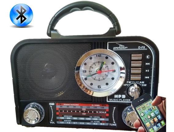Radio Am Fm Sw Com Despertador Relogio Bateria Bluetooth