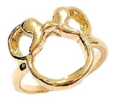 Anel Feminino Minnie Mouse Semi Joia Dourado Banhado A Ouro