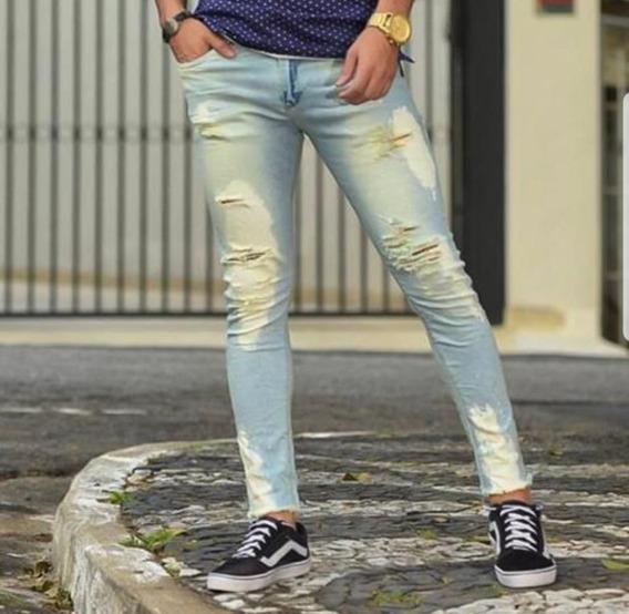 Calça Jeans Masculina Premium Rasgada Manchada Destroyed