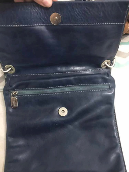Cartera Cuero Azul Marca Prune Impecable