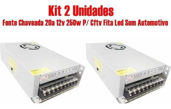 Kit 2 Fonte Chaveada 20a 12v 250w P/ Cftv Som Automotivo