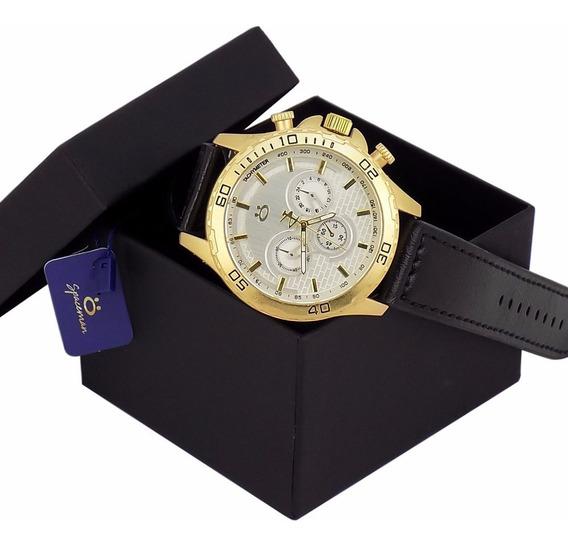 Relógio Masculino Dourado-preto Original Na Caixa Promoção
