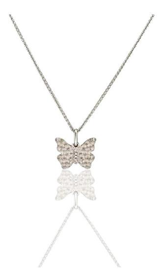 Gargantilla De Mariposa De 14 K Con 4 Diamantes De 0.02 Ct