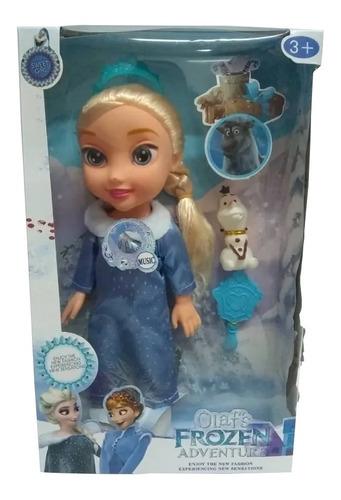 Imagen 1 de 3 de Muñeca De Frozen Elsa Ana 34 Cm Con Sonido Juguete Niñas
