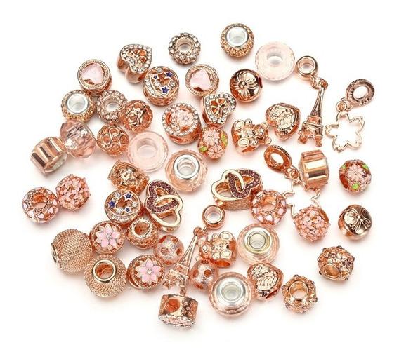 50 Charms Rose Gold Compatibles Pulsera Pandora Chapeados