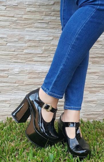Zapato Sandalias Guillerminas De Mujer Con Plataforma Y Taco