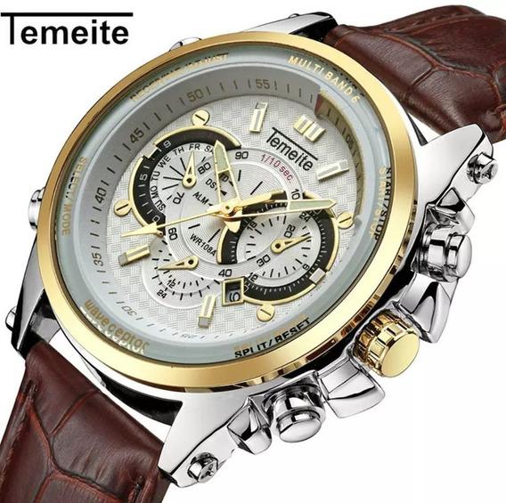 Relógio Masculino Temeite Casual Aço Inoxidável Premium Luxo Esportivo Militar Analogico Pulseira Promoçao Oferta Top