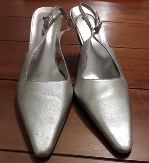 Sapato De Festa Prateado Tam. 35
