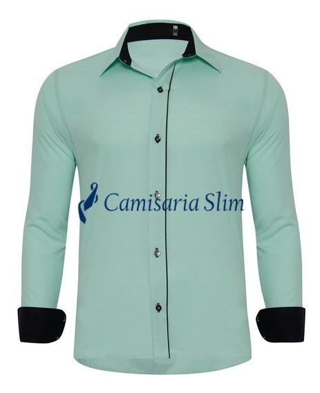Kit 3 Camisas Camisete Blusa Manga Longa Slim Fit Masculina