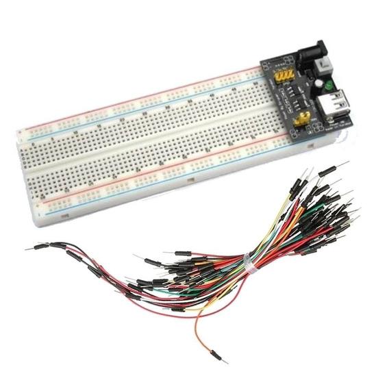 Kit Protoboard 830 Com Regulador De Tensão E Jumper 65 Pçs
