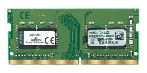 Memória RAM ValueRAM color Verde  4GB 1x4GB Kingston KVR24S17S8/4