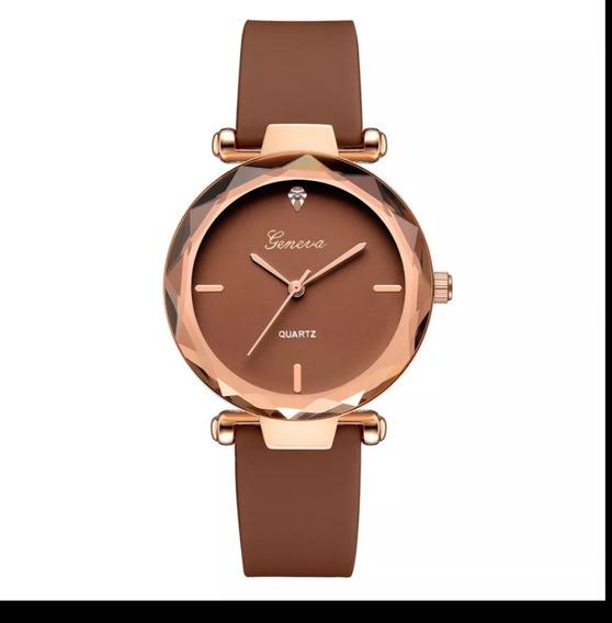 Lindo Relógio Feminino Geneva Duas Cores Disponíveis+ Brind