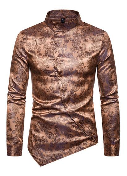 Camisas Casuales Hombres Camisa Slim Fit Con Estampado Flora