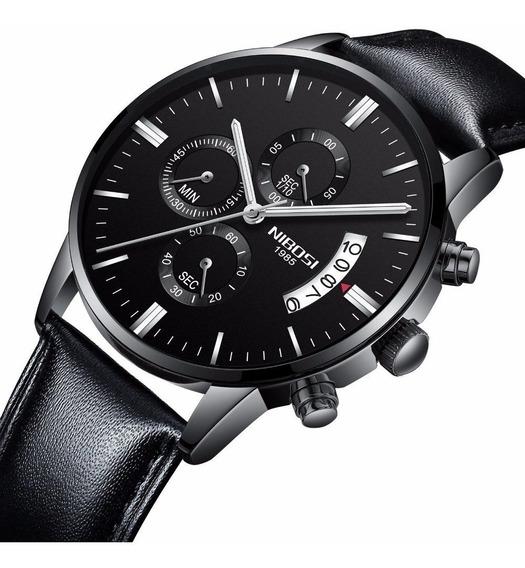 Relógio Nibosi 2309 Masculino Preto Funcional Pulseira De Couro Prova D