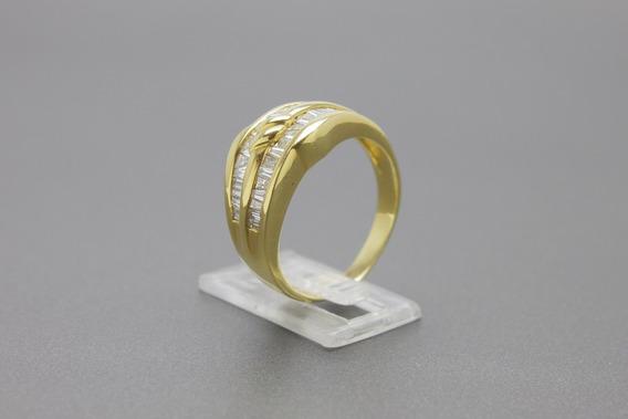  446  Anel Em Ouro Amarelo 18k Com Diamantes