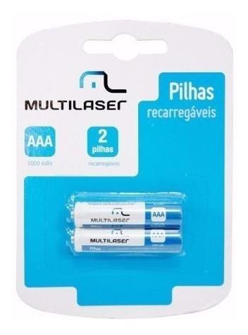 Pilha Recarregável Multilaser Aaa 1000mah 1.2v Cb051 Par