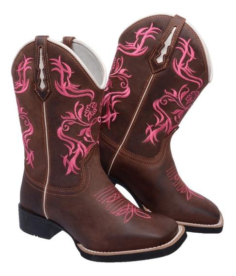 Bota Feminina Texana Bico Quadrado Cano Médio Country Couro