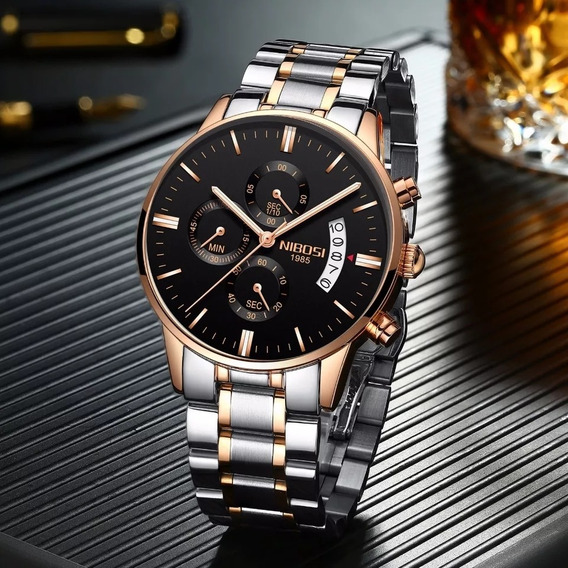 Relógio Masculino Rose Nibosi Malha De Aço 100% Funcional