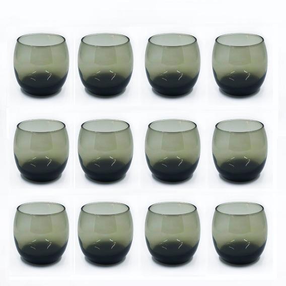 Copa Copon Vaso Whisky Vidrio Mikonos Color Ceniza X 12 Sin Pie Vino Dubai