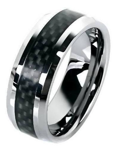 Anel Masculino Luxo 8mm Tungstênio Preto