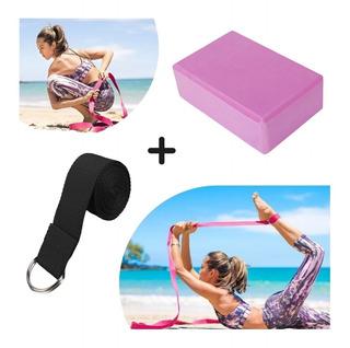 Ladrillo Yoga Brick, Goma Eva + Cinta De Elongacion 2 Mts