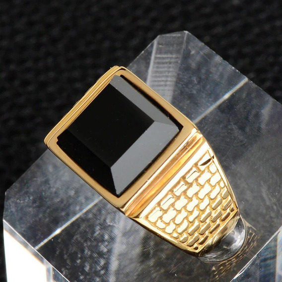 Anel Masculino Banhado A Ouro 18k Aço Comendador Pedra Preta
