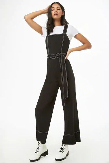 Forever 21 Jumpsuit Overol Pierna Ancha Stretch Negro L Gde