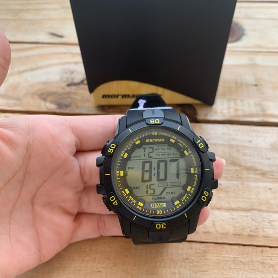 Relógio Mormaii Action Masculino Preto E Amarelo Mo3690aa/8y
