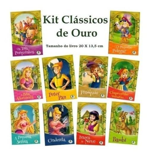 Livro Infantil Clássicos De Ouro C/10 Unidades