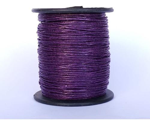 Imagen 1 de 1 de Hilo Encerado Morado Violeta 1mm 100 Metros