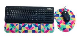 Kit Mouse Pad + Apoio Ergonômico Teclado Colorido