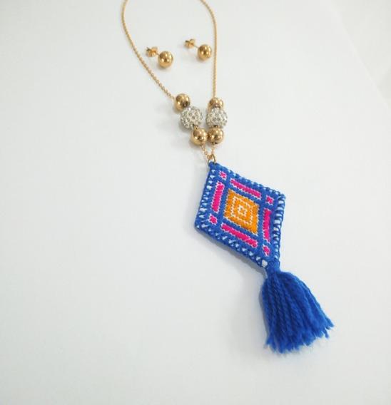 Collar Con Dije Artesanal + Aretes