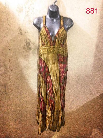 Vestido Indiano Mostarda Gg Manchas Viscose Acinturado Luxo