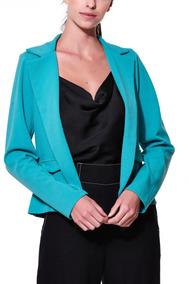 Blazer Curto Azul Turquesa Semi-forrado