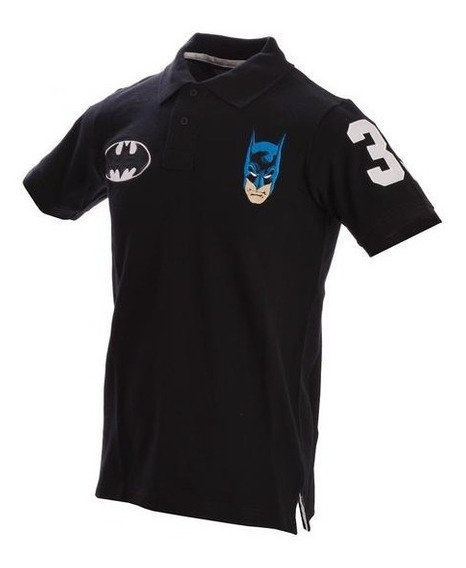 Playera Polo Negra Batman Caballero