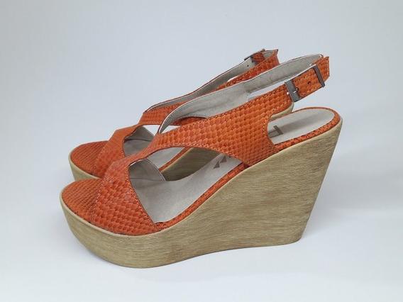 Zapatos Sandalias De Cuero Plataforma Altas Livianas