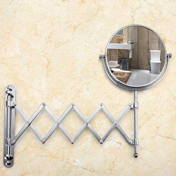 Espelho De Banheiro P Parede Dupla Face Retrátil Aço Inox