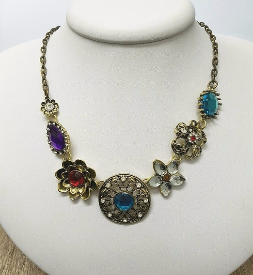 Maxi Colar Vintage Com Pedras Acrílicas Coloridas
