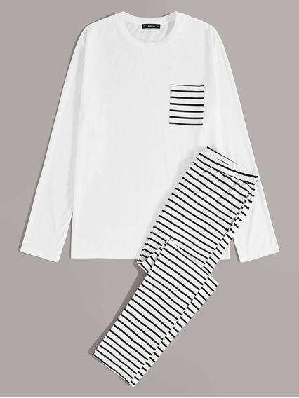 Conjunto De Pijama De Hombres Top Con Bolsillo Con Pantalone