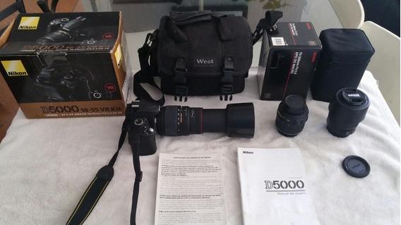 Camera Nikon Slr D5000 3 Lentes Praticamente Sem Uso