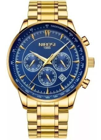 Relógio Masculino Nibosi 2357 100%original Funcional Dourado