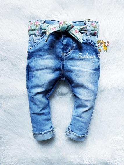 Calça Jeans Clara Bebê Infantil Menina Fashion 1 Á 12 Meses
