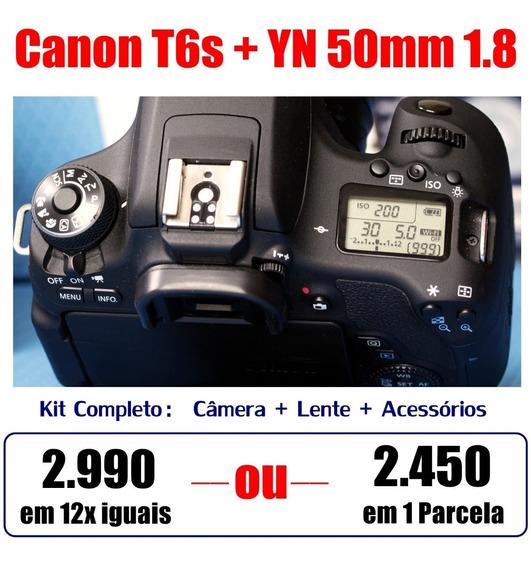 Canon T6s Novinha + Lente Yn 50mm 1.8 - Melhor Que T5i E T6i