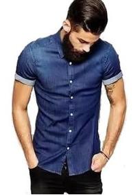Camisa Jeans Slim Fit Manga Curta