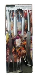Set De Bbq Cocina X 3 Piezas Tenedor Cuchillo Y Pinza