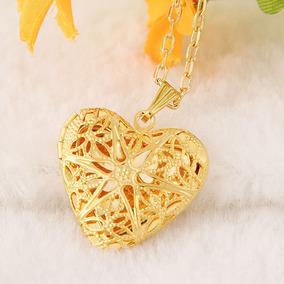 Colar Banho Ouro Pingente Coração Oco Para Guardar Relíquia