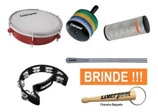 Kit Percussão Especial Liverpool 5 Instrumentos + Brinde